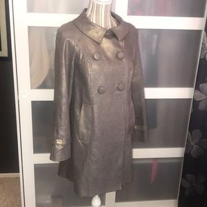 INC gold shimmer brown gray trench coat, jean